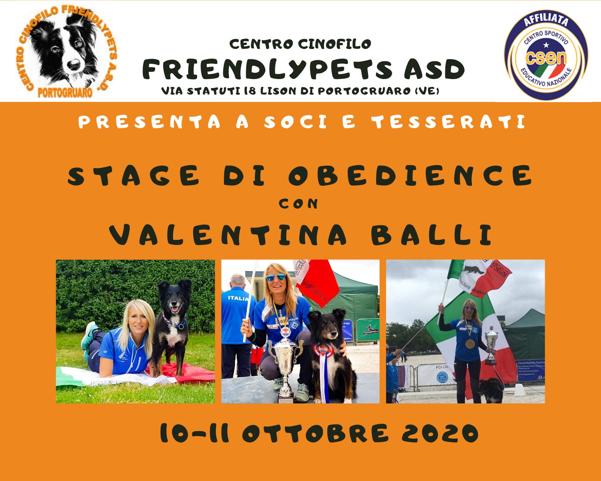 Stage Obedience con Valentina Balli
